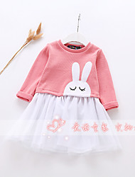 Girl's Casual/Daily Animal Print Dress,Cotton Spring Fall Long Sleeve