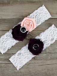 2pcs/set Black And Pink Satin Lace Chiffon Beading Wedding Garter