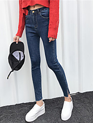 Sign minimalist side slit trousers Slim thin nine points jeans feet pencil pants female Nett