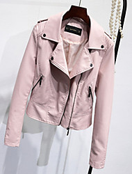 Women's Going out Casual/Daily Simple Spring Fall Leather Jacket,Solid Shirt Collar Long Sleeve Short PU