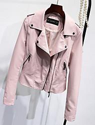 Для женщин На выход На каждый день Весна Осень Кожаные куртки Рубашечный воротник,Простой Однотонный Короткая Длинный рукав,Полиуретановая