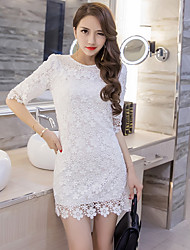 Spot really making 2017 spring new temperament sexy package hip nightclub bottoming Sleeve Lace Dress