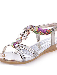 Women's Sandals Spring Summer Fall Comfort PU Dress Flat Heel Wedge Heel Rhinestone