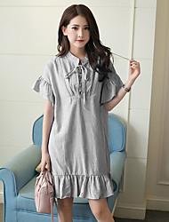 signe vent collège bouffée coton rayé robe coréenne