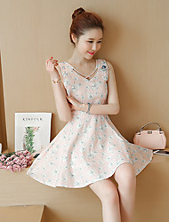 Sign new spring and summer 2017 was thin waist small fresh floral skirt cotton vest skirt bottoming A dress