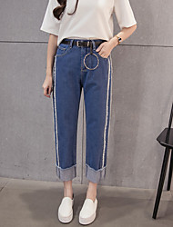Sign new winter Korean fashion double waist without shells washed straight edges nine points jeans female wide leg pants