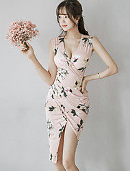 Women's Asymmetrical Going out Bodycon Dress,Floral V Neck Asymmetrical Sleeveless Polyester Spring Summer Mid Rise Inelastic Thin