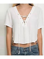 Damen Solide Einfach Lässig/Alltäglich T-shirt,Tiefes V Kurzarm Baumwolle