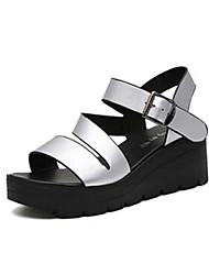 Women's Sandals Comfort PU Spring Summer Casual Dress Comfort Hook & Loop Flat Heel Sliver Dark Brown Flat