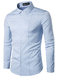 Men's Fashion Casual Ou Code High-Grade Solid Color Long-Sleeved Shirt