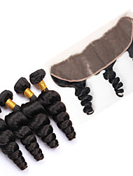 Vinsteen 7A Brazilian Loose Wave Hair Bundles with 13x4 Lace Frontal Closure Double Weft Human Hair Extensions Dyeable Hair Weaves Closure