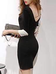 Модель реальный выстрел корейский торговый +2017 весной новый тонкий тонкий пакет хип платье секси дамы ола