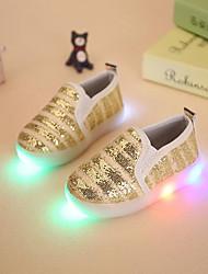 Para Meninas-Mocassins e Slip-Ons-Menina Flor Shoes Light Up Shoes-Rasteiro-Dourado Prateado Rosa claro-Sintético-Social Casual Festas &