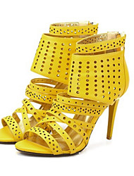 Women's Sandals Spring Summer yellow gladiator sandals high heels Club Shoes Leatherette Party & Evening Casual Stiletto Heel Zipper