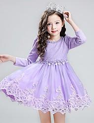 Girl's Holiday Print Dress,Bamboo Fiber Spring Fall ¾ Sleeve