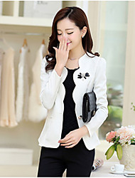 Women's Going out Casual/Daily Cute Spring Summer Blazer,Solid V Neck Long Sleeve Short Polyester