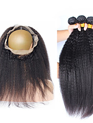 Vinsteen 8A Good Quality Double Weft Brazilian 360 Lace Frontal Closure Unprocessed human hair weave Kinky Straight 3pcs lot Hot Beauty Hair Products