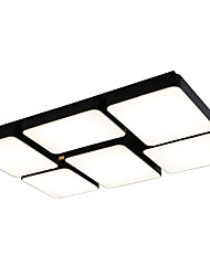 Led 72W Ceiling Light Modern/Contemporary Rectangle Black White Painting for Dinning Room Bedroom