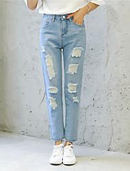 Signo 2017 versión coreana de la gran rodilla agujero mendigo jeans sueltos bf
