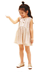 Girl's Casual/Daily Solid Dress,Cotton Linen Summer Sleeveless