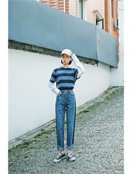 Знак весна новый ветер колледжа тонкие свободные прямые джинсы колготки под углом столкновения цвет мойка