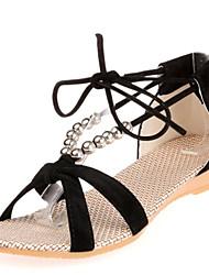 Women's Sandals Summer Comfort Fleece Dress Casual Low Heel Beading Lace-up