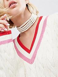 Mujer Gargantillas Perla artificial Obsidiana Joyas Perla Artificial Perla Artificial Personalizado Euramerican Hecho a mano Blanco Joyas