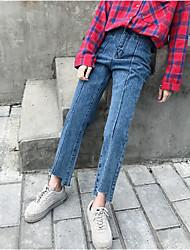 assinar coreano irregular lavado azul denim calça nett