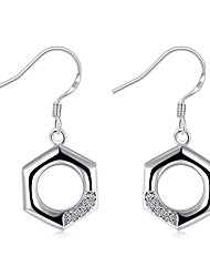 Exquisite Silver Plated Clear Crystal Hexagonal Square Drop Earrings for Wedding Party  Jewelry Accessiories