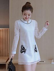 подписать весной 2017 новых женщин&# 39, S бабочки вышитые с длинными рукавами-Line платья пассива платья