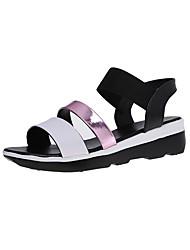 Damen-Sandalen-Lässig-PU-Flacher Absatz-Komfort-Silber Blau Rosa
