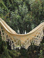 100% Cotton Thickening Canvas outdoor 2 Person Portable Tassel Hammock White Fringe Camping Hammock