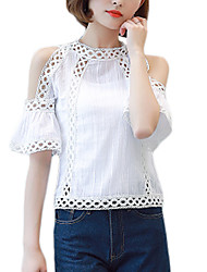Women's Going out Work Vintage Sophisticated Blouse,Solid Stand Rayon