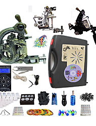 Complete Tattoo Kit 3 Machines G3Z12A2A4 Liner & Shader Hurricane Dual LED Digital Power Supply