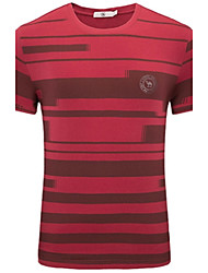 Tee-shirt Homme,Rayé Décontracté / Quotidien simple Eté Manches Courtes Col Arrondi Coton Spandex Moyen