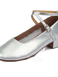 Customizable Kid Girl Dance Shoes Leatherette Fabric Leatherette Fabric Latin Sandals Heels Cuban Heel Performance Gold/Sliver