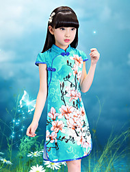 Girl's Cotton Vintage Going out Casual/Daily Holiday Floral Print Dress Cotton Summer Cheongsam Short Sleeve White Blue