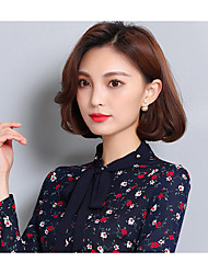 Women's Casual/Daily Simple Blouse,Floral Peter Pan Collar Long Sleeve Silk Thin