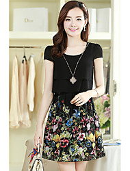 Summer new Korean hit color stitching round neck short sleeve elegant female summer chiffon print dress