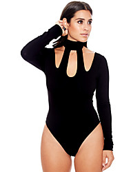 Women's Casual Halter Neck Rompers Long Sleeve Hollow Out Bodysuits