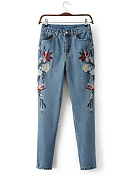 Women's Mid Rise Micro-elastic Jeans Pants,Vintage Loose Jacquard Print