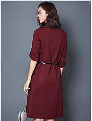 Women Hitz long section of a word commuter OL dress shirt style skirt solid wild