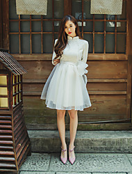 Primavera e verão retro novo sólido orelha de orelha vestido de vestido magro vestido bordado