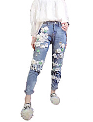 Sign in early spring 2017 new high-end washing heavy flowers jeans feet pants casual pants