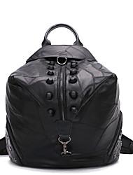 Black sheepskin punk estilo saco mochila com rebite