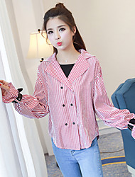 Spring new female Korean yards shirt loose blouse wild lapel speaker sleeve shirt real shot