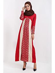 uma perna europeu de muslim vestes árabes rendas costura comprimento da saia vestido solto verdadeiro tiro