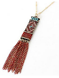 Women's Pendant Necklaces Multi-stone Gem Chrome Tassels Vintage Jewelry For Gift Daily 1pc