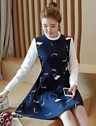 Women's Going out Simple A Line Dress,Print Round Neck Above Knee Long Sleeve Rayon Spring Low Rise Micro-elastic Medium