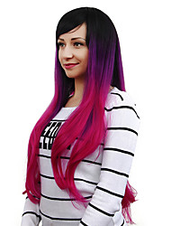 Fashion Black To Purple To Rose Three Tone Color Straight Wigs Cospaly European Synthetic Wig